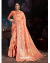 Light Orange Banarasi Cotton Silk Designer Saree