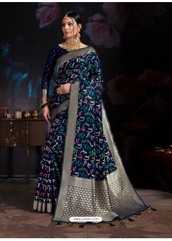 Navy Blue Banarasi Cotton Silk Designer Saree