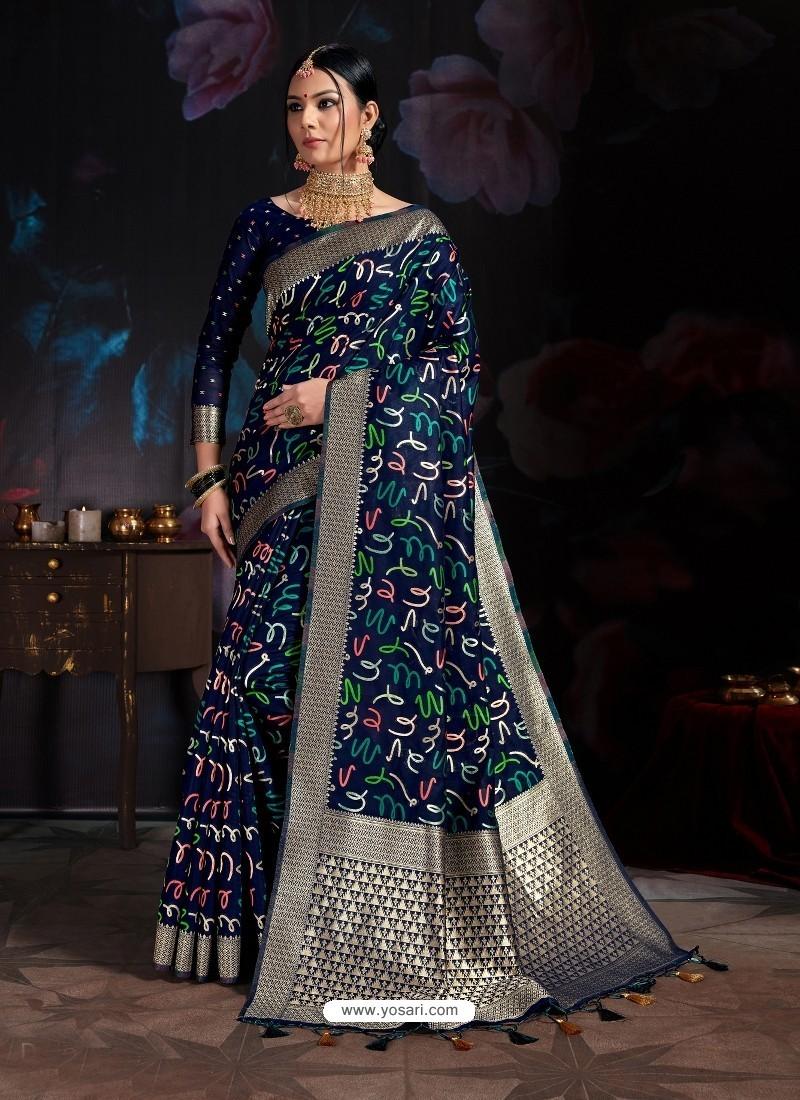 Navy Blue Banarasi Cotton Silk Designer Saree
