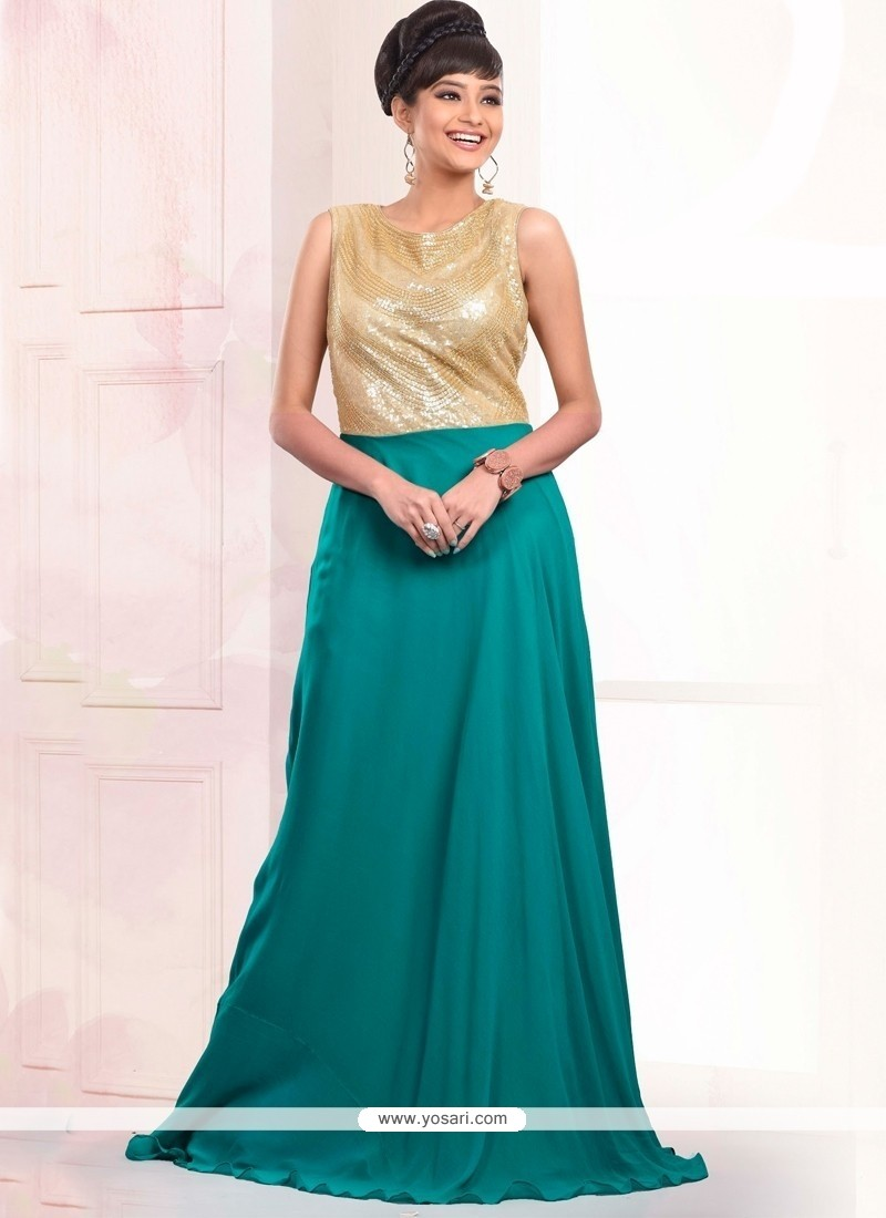Immaculate Sequins Work Faux Georgette Teal Floor Length Gown