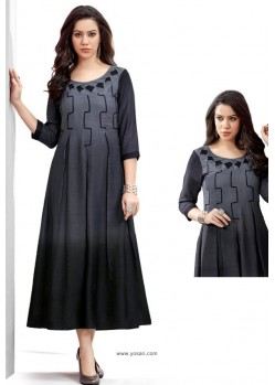 Black Shaded Rayon Slub Readymade Kurti