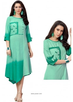 Aqua Mint Shaded Rayon Slub Readymade Kurti