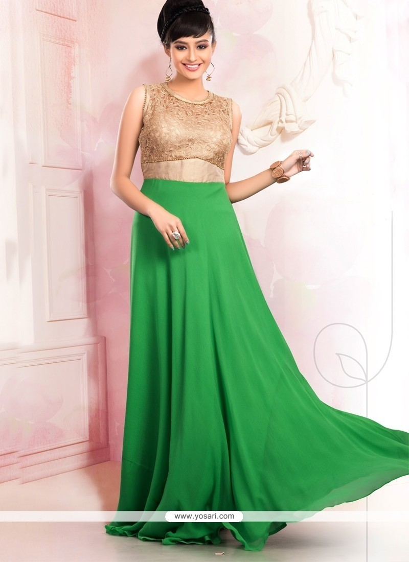 Distinctive Zari Work Floor Length Gown