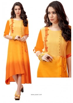 Yellow And Orange Shaded Rayon Slub Readymade Kurti