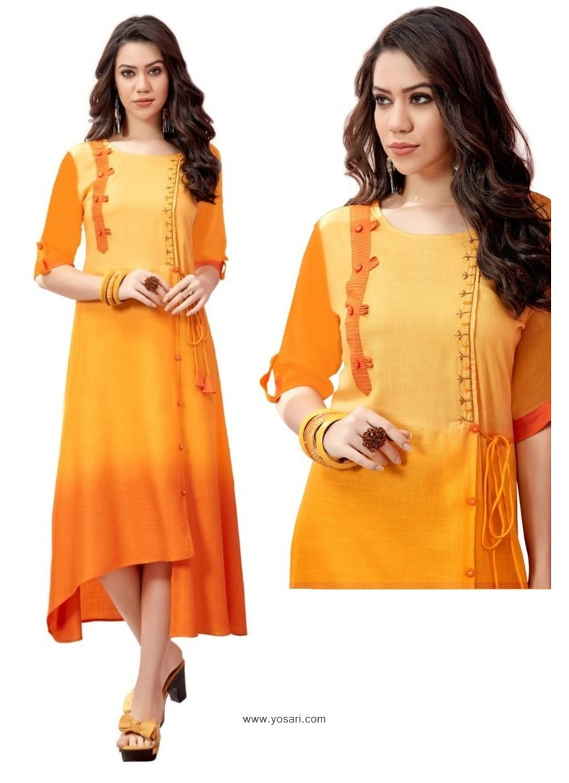 Yellow And Orange Shaded Rayon Slub Readymade Kurti