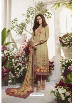 Light Beige Sorer Digital Printed Crepe Straight Suit