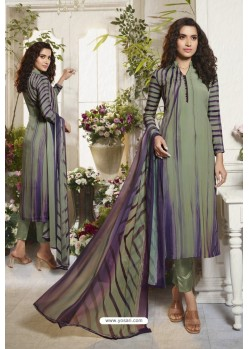 Olive Violet Sorer Digital Printed Crepe Straight Suit