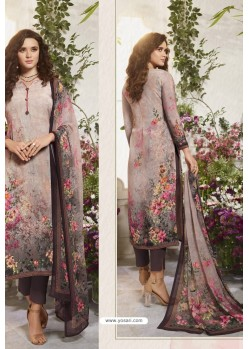 Light Brown Sorer Digital Printed Crepe Straight Suit