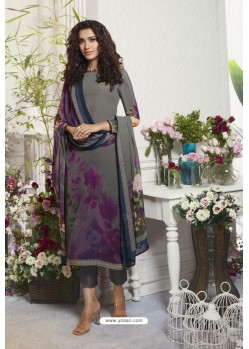 Dull Grey Sorer Digital Printed Crepe Straight Suit
