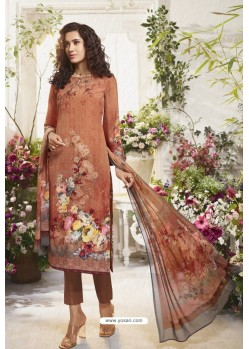 Rust Sorer Digital Printed Crepe Straight Suit