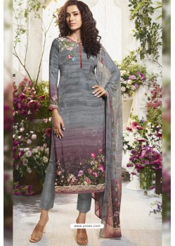 Grey Sorer Digital Printed Crepe Straight Suit