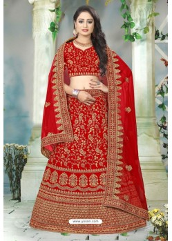 Delightful Red Satin Stone Embroidered Lehenga Choli