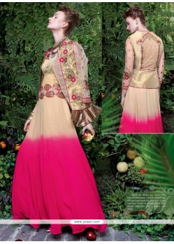 Cream And Hot Pink Tissue Embroidered Work Designer Gown