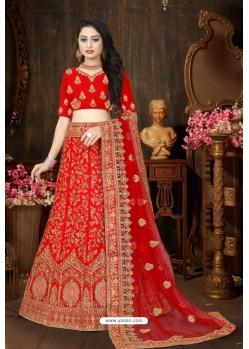 Latest Red Satin Resham Embroidered Bridal Lehenga Choli