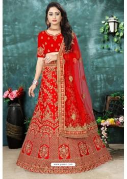 Splendid Red Satin Resham Embroidered Bridal Lehenga Choli