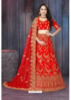 Glorious Red Satin Resham Embroidered Bridal Lehenga Choli