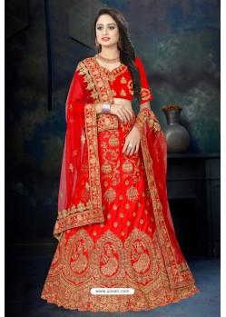 Dazzling Red Satin Resham Embroidered Bridal Lehenga Choli