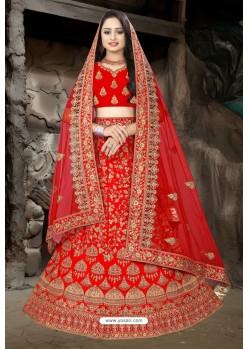 Feminine Red Satin Resham Embroidered Bridal Lehenga Choli