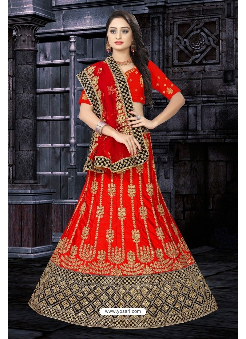 Eyeful Red Satin Resham Embroidered Bridal Lehenga Choli