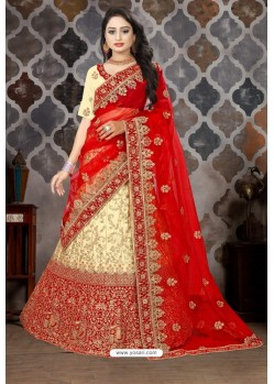 Beige And Red Satin Resham Embroidered Bridal Lehenga Choli