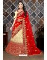Beige And Red Satin Resham Embroidered Bridal Lehenga Choli