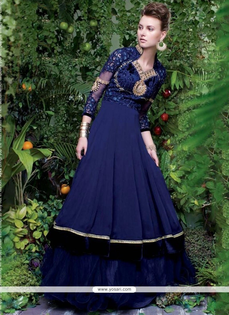 Blue Georgette Embroidered Work Floor Length Gown