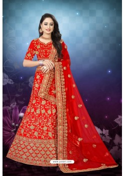Groovy Red Satin Resham Embroidered Bridal Lehenga Choli
