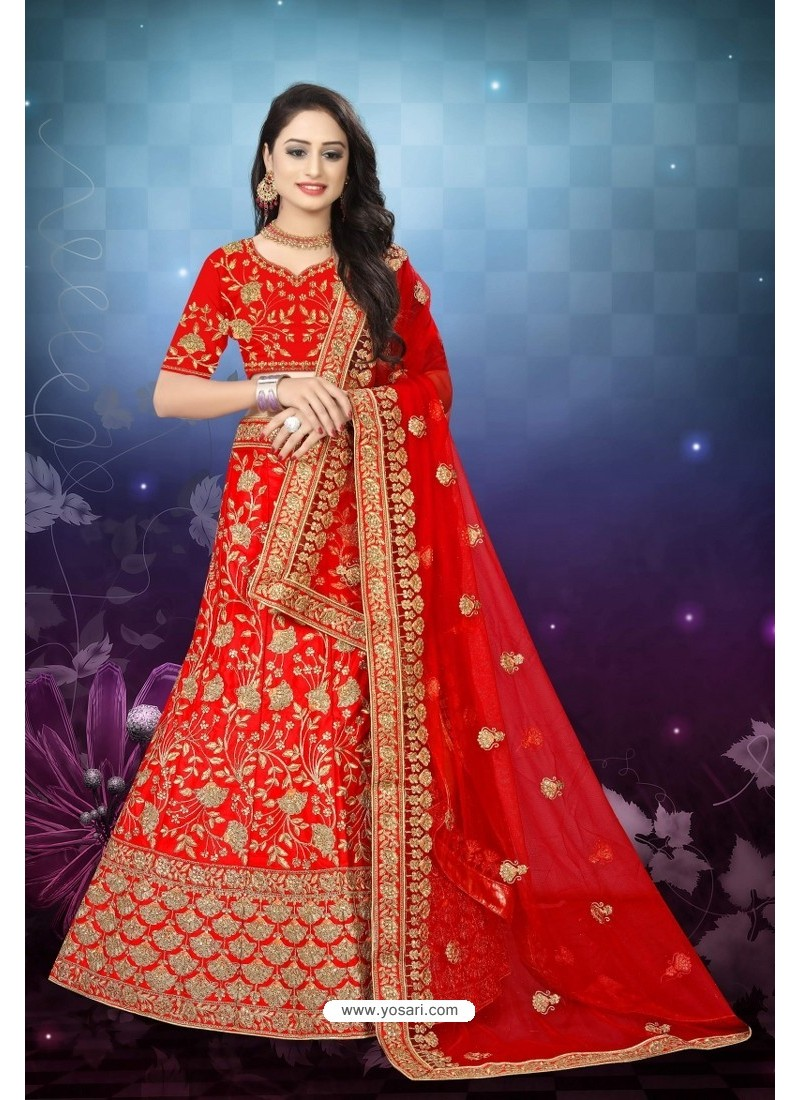 Groovy Red Satin Resham Embroidered Bridal Lehenga Choli