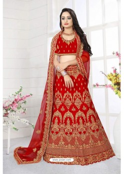 Modern Red Satin Resham Embroidered Bridal Lehenga Choli
