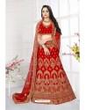 Modern Red Satin Resham Embroidered Bridal Lehenga Choli