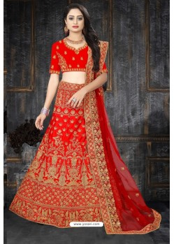 Decent Red Satin Resham Embroidered Bridal Lehenga Choli