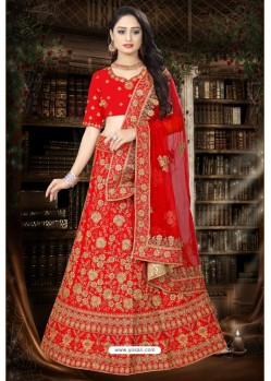 Exceptional Red Satin Resham Embroidered Bridal Lehenga Choli