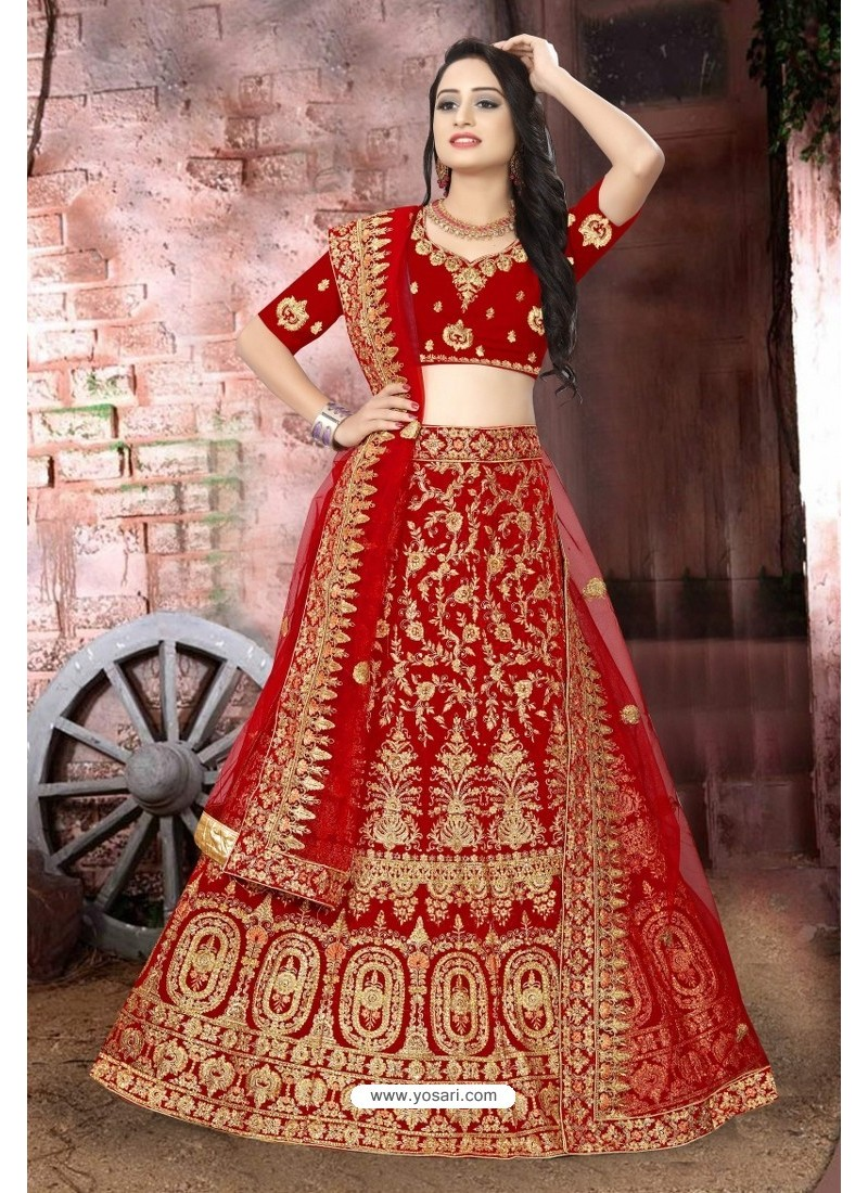 Perfect Red Velvet Resham Embroidered Bridal Lehenga Choli