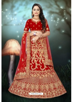 Charming Red Velvet Resham Embroidered Bridal Lehenga Choli