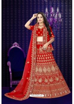 Stunning Red Velvet Resham Embroidered Bridal Lehenga Choli