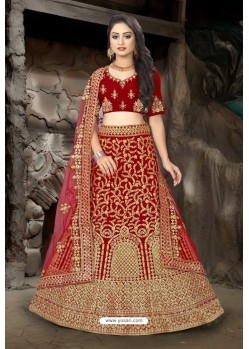 Maroon Velvet Resham Embroidered Bridal Lehenga Choli