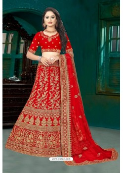 Attractive Red Velvet Resham Embroidered Bridal Lehenga Choli