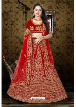 Lovely Red Velvet Resham Embroidered Bridal Lehenga Choli