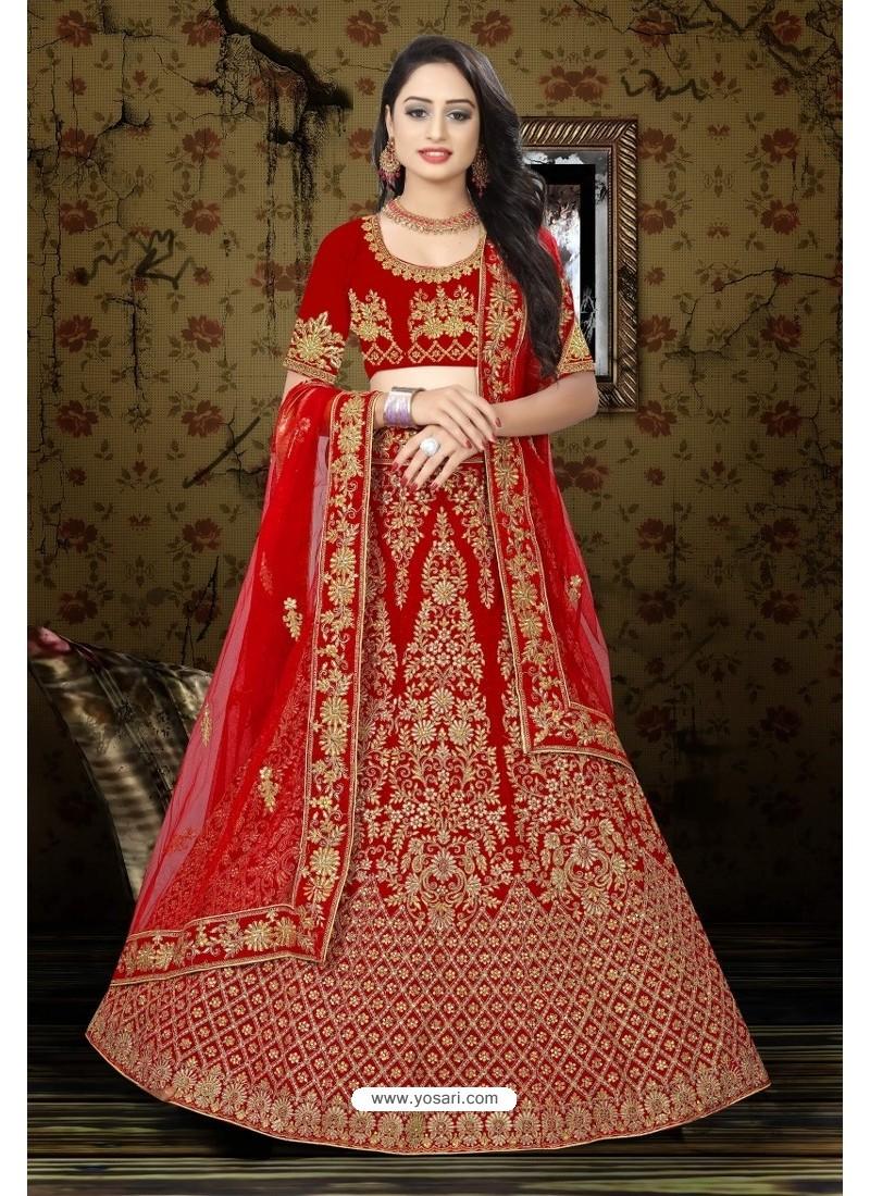 Lovely Red Velvet Resham Embroidered Bridal Lehenga Choli