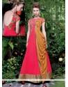 Savory Hot Pink Net Designer Gown