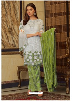 White And Green Faux Georgette Embroidered Palazzo Suit