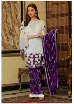 White And Purple Faux Georgette Embroidered Palazzo Suit