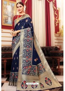 Navy Blue Banarasi Silk Jacquard Work Saree