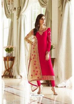 Red Georgette Embroidered Designer Churidar Suit