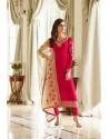 Red Georgette Embroidered Designer Churidar Suit