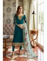 Teal Blue Georgette Embroidered Designer Churidar Suit