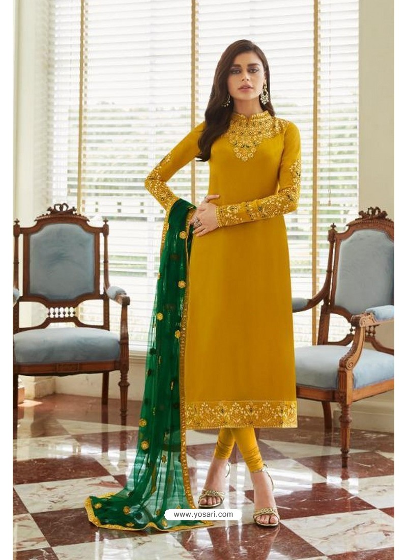 Yellow Georgette Embroidered Designer Churidar Suit