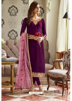 Purple Georgette Embroidered Designer Churidar Suit