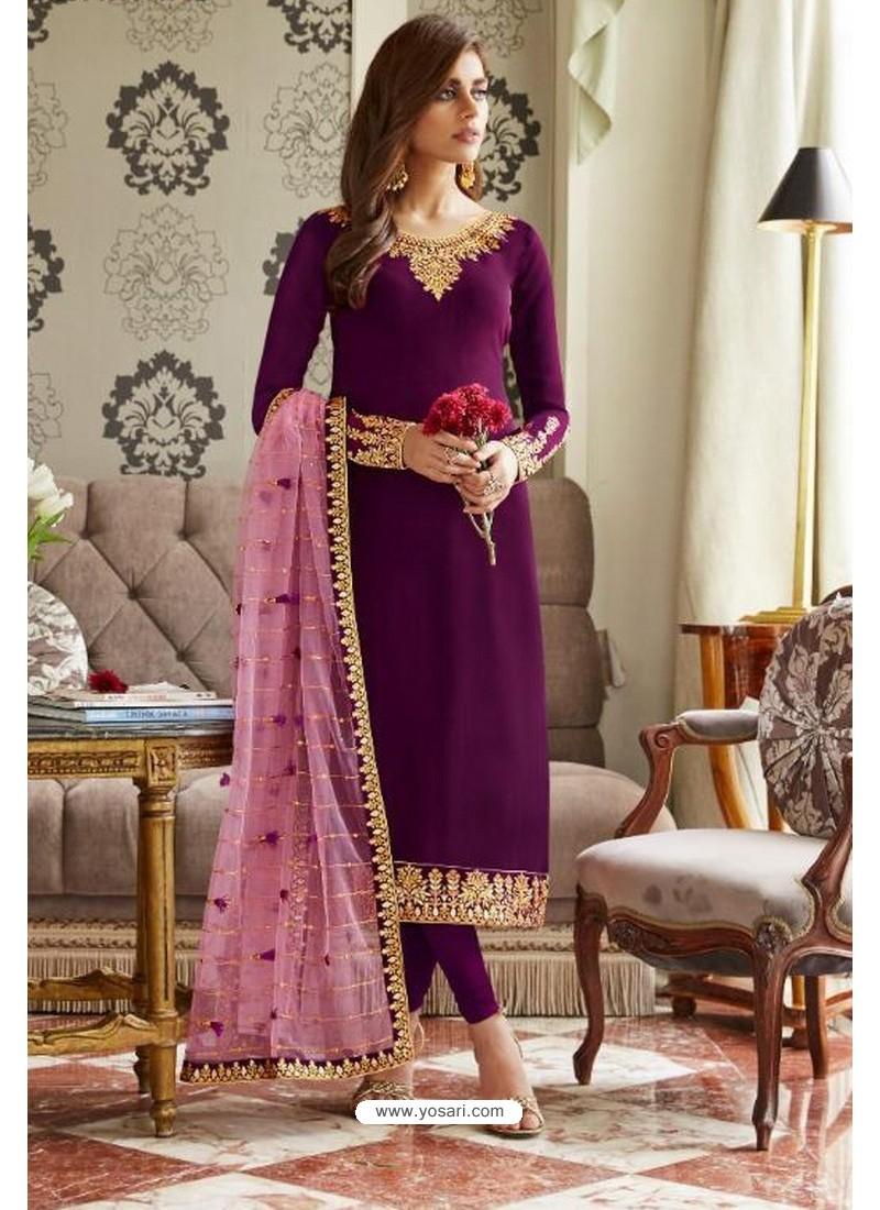 Purple Georgette Embroidered Designer Churidar Suit