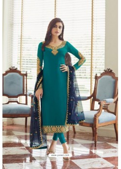 Teal Georgette Embroidered Designer Churidar Suit